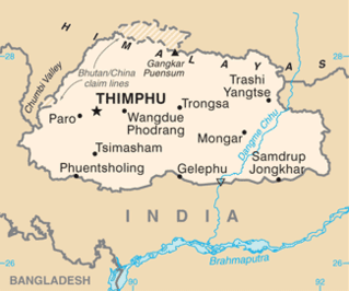 Area of Country Bhutan